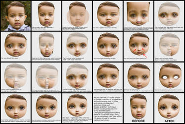 Create a doll face from a child photo. Tutorial by Lora-Vysotskaya