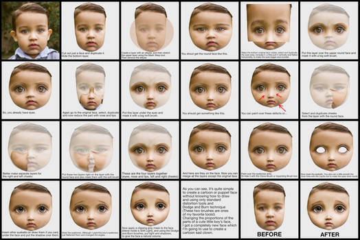Create a doll face from a child photo. Tutorial