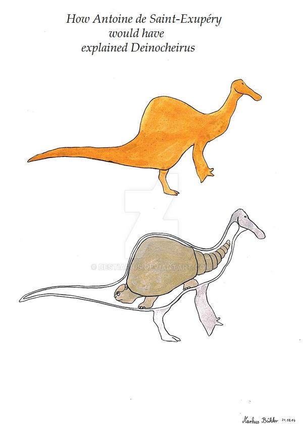 Deinocheirus meme - Antoine de Saint-Exupery style by Bestiarius
