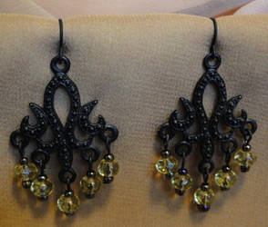 Black Champagne Earrings by vertabella