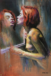 Girl looking in the mirror by AATheOne