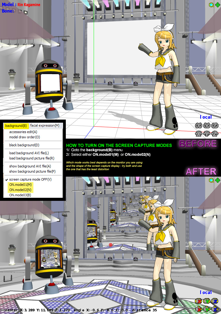 MMD Tutorial - how to turn on screen capture modes by