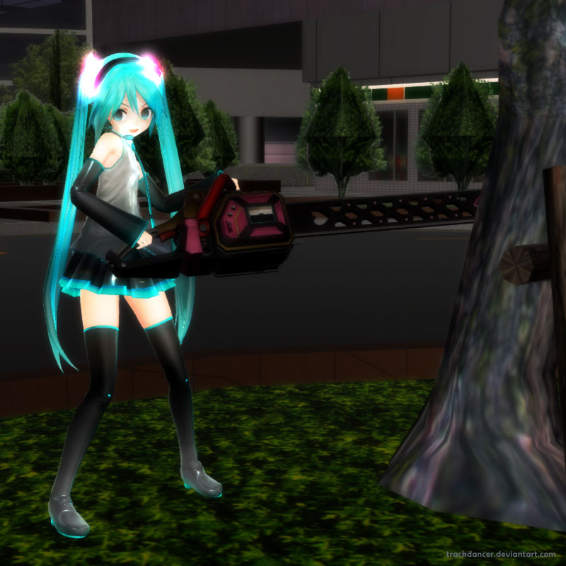 MMD Miku with a Chain-saw by Trackdancer