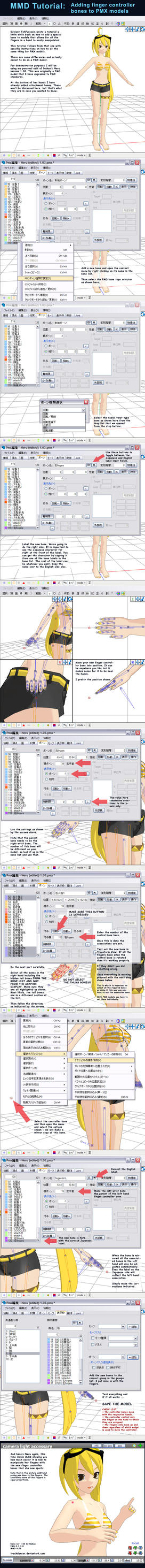 MMD Adding Finger Control Bones to PMX models. by Trackdancer