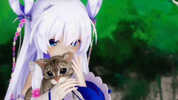 MMD Stella cuddling her kitten