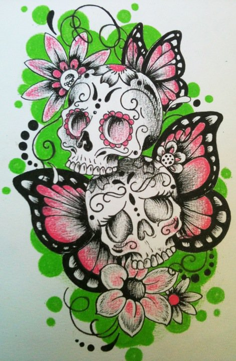 boy and girl sugar skulls by lilmrsfrankenstein
