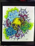 skull roses spider web tattoo