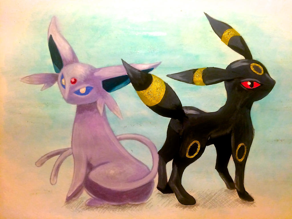 Espeon and Umbreon by w01fg4ng