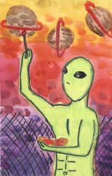 3 Of Planets - Inspiring Alien Tarot Deck original