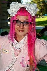 PINK hair lolita in pink dress