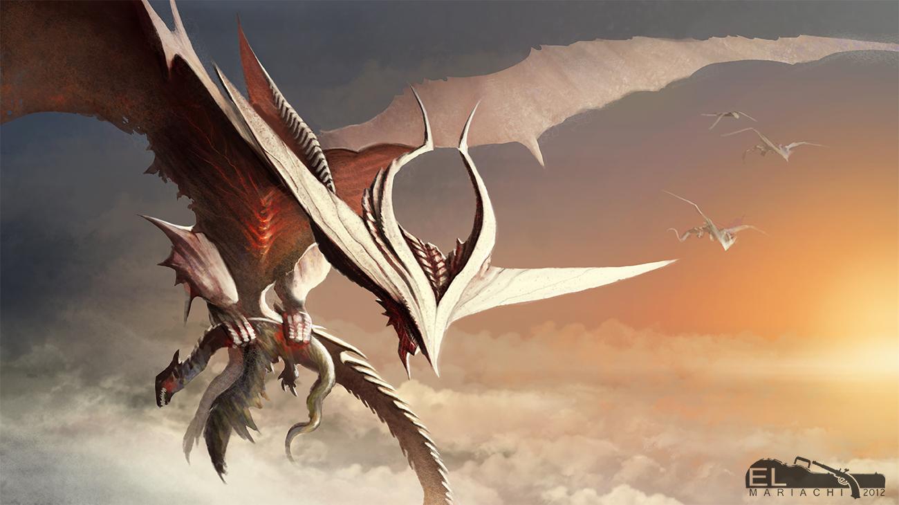 white Hunter Dragon by REAL-ELMARIACHI
