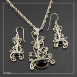 Onyx and Moonstone Filigree by craftal