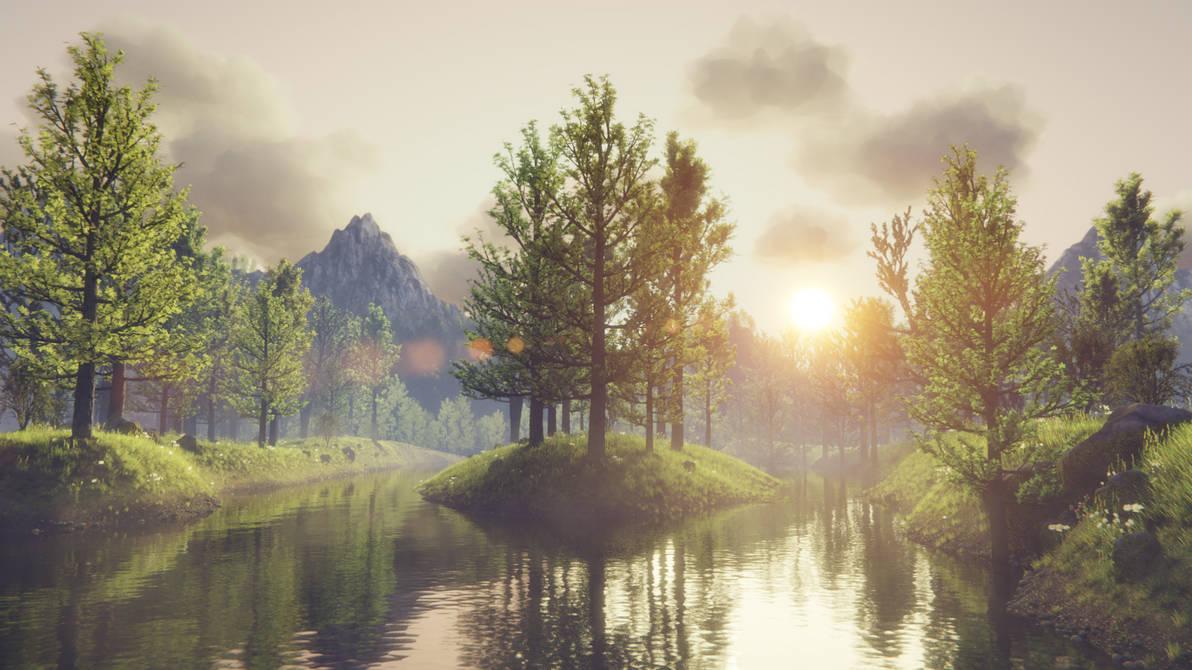 Forest scene - sunrise version