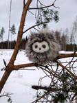 Fuzzy owl in winter wonderland2 - Sold