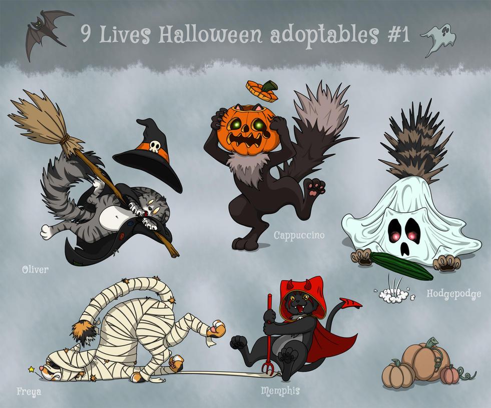 Feline Halloween adoptables Auction - OPEN by demiveemon