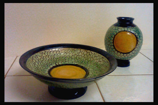 Dragon scale jar and bowl