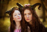Faun Sisters by LucreciaMortishia