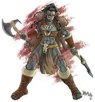 Shaak'Ra - Half-Orc Barbarian by Lord-Leafar