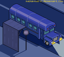Pixel bus stop - night version by metal-marty
