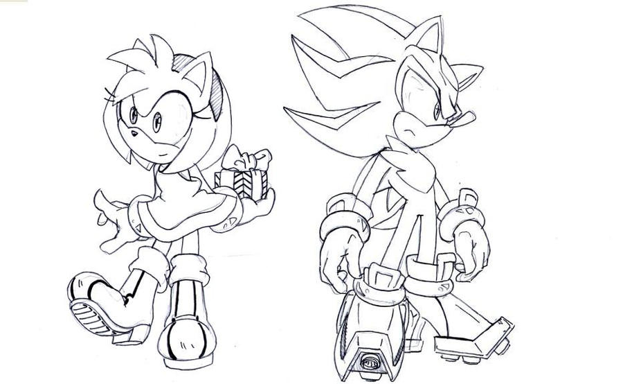 shadow and amy coloring pages - photo#23