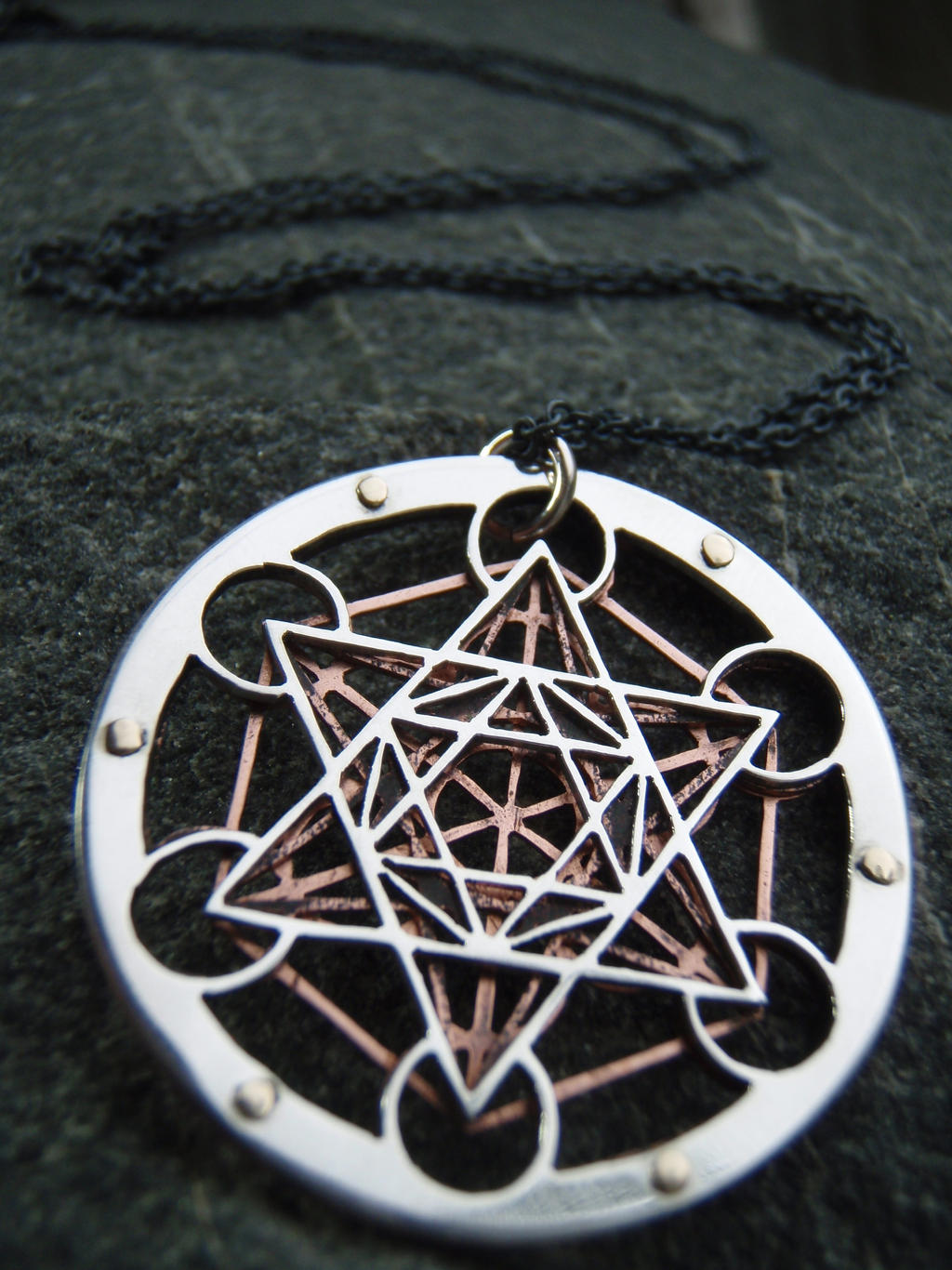 Silver and copper metatron 39 s cube pendant by jeanburgers for Metatron s cube jewelry