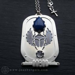 Egyptian Scarab Lapis Lazuli and Moonstone Amulet