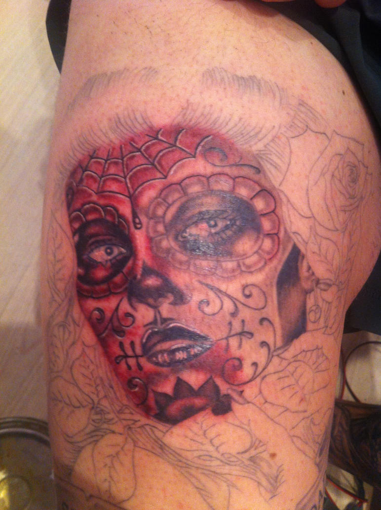 dia de muertos (in progress) A step closer by Lucifine666