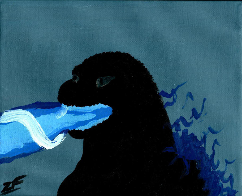Godzilla Atomic Breath Painting by Phntm09 on DeviantArt