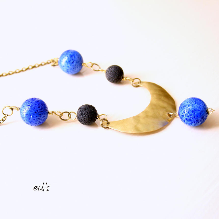 Necklace with Royal Blue Coral by IoannaEvans