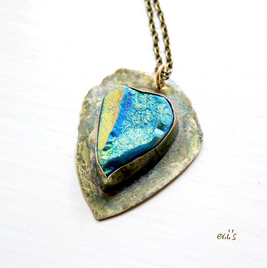 Artisan Pendant with Peacock Teardrop Druzy by IoannaEvans