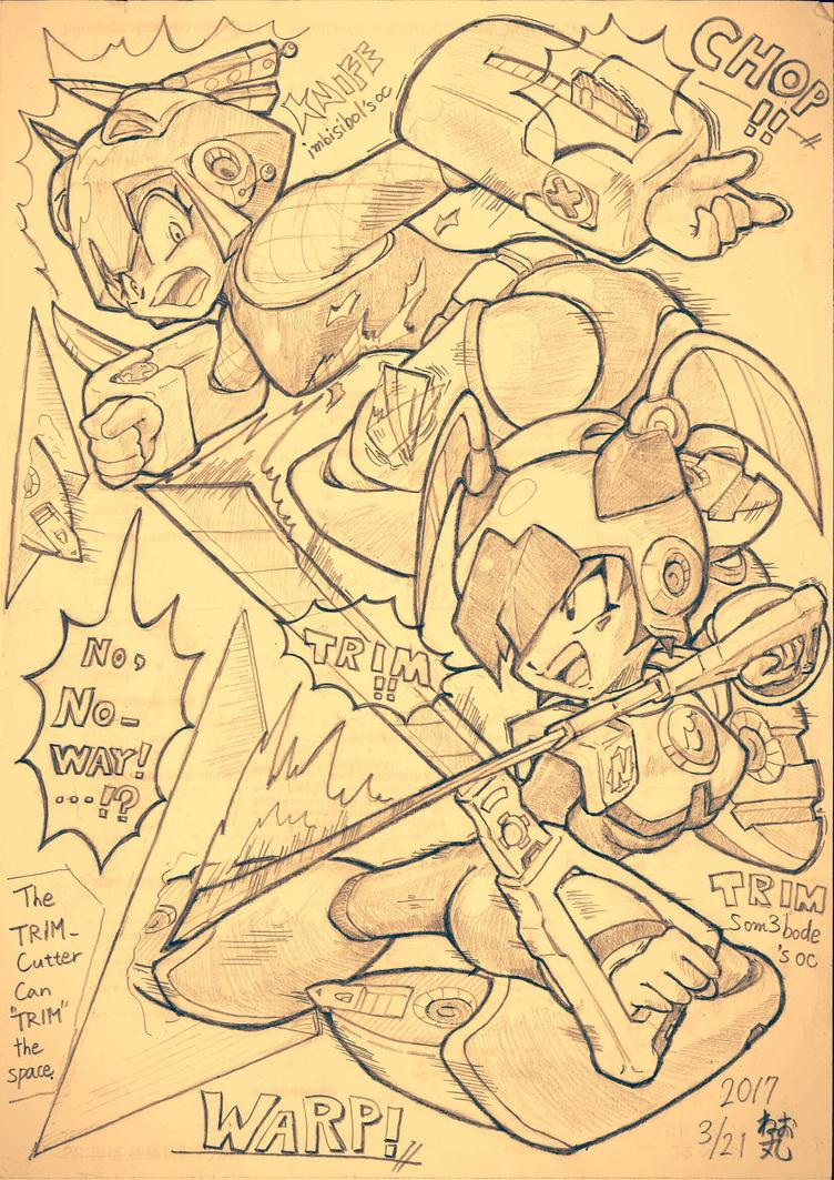 BATTLE!(TRIM and KNIFE) megaman ocs by NE0MARU