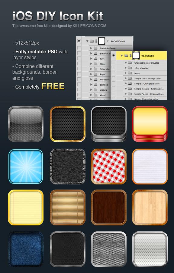 Free iOS DIY App Icon Kit by Killericons