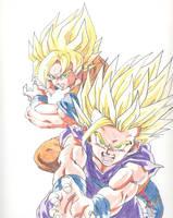 Goku and Gohan by Maetelsama