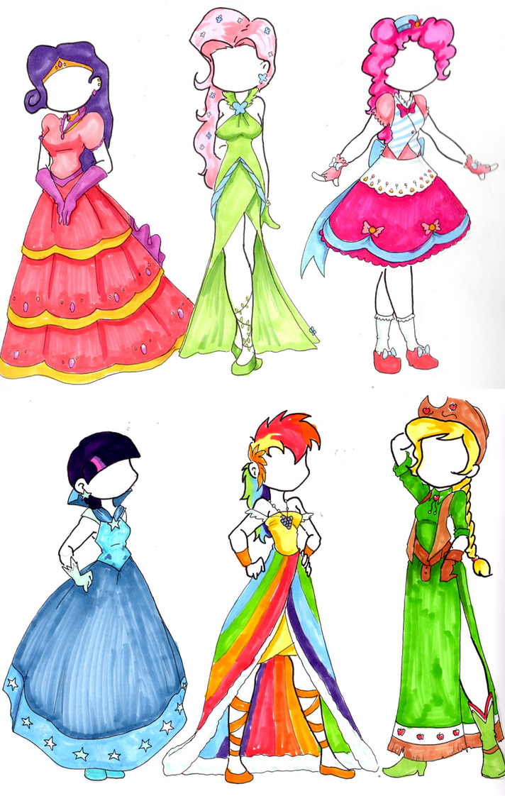 Pony Gala Dresses Gijinka by MidnightPursona