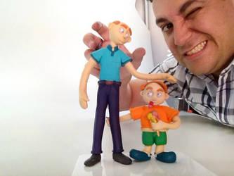 Mascotes pai e filho massinha polymer clay by getreze
