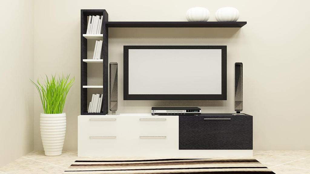 Tv unit designs for hall online in india by scaleinch on for Wall design in hall