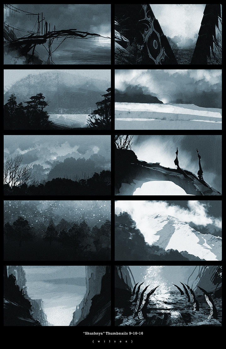 Concept Art: Thumbnail Sketches   Shushnya by Jonathan-Wilson