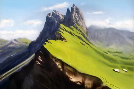 Grass mountain landcape speed paint