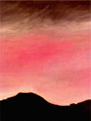 Mountain Silhouette pink sky by Yosemite-Stories