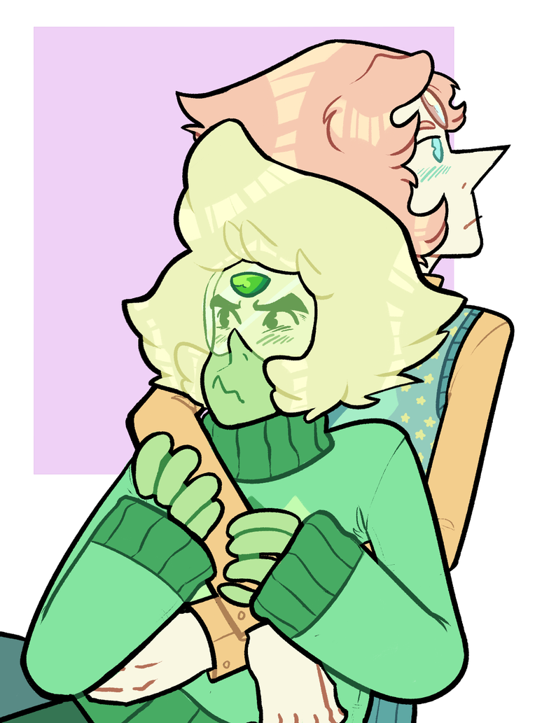 pearl just has peridot...in a very tender headlock...