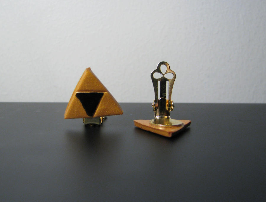 Triforce CLIP ON Earrings by totalexistancefail