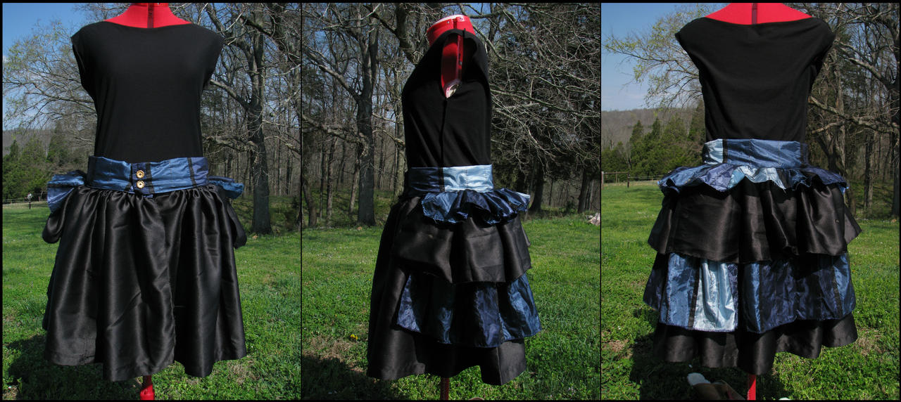 Blue and Black Ruffle Bustle Skirt by totalexistancefail