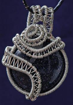 Woven Blue Goldstone Pendant