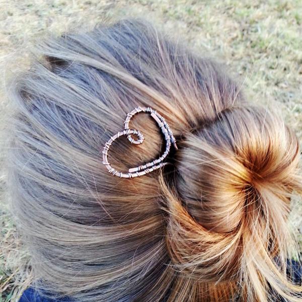 Heart formed copper hair fork by Astukee on DeviantArt