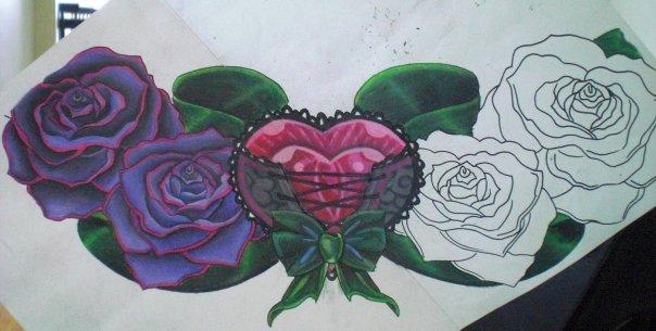HeartCorset Chest Piece2 - chest tattoo