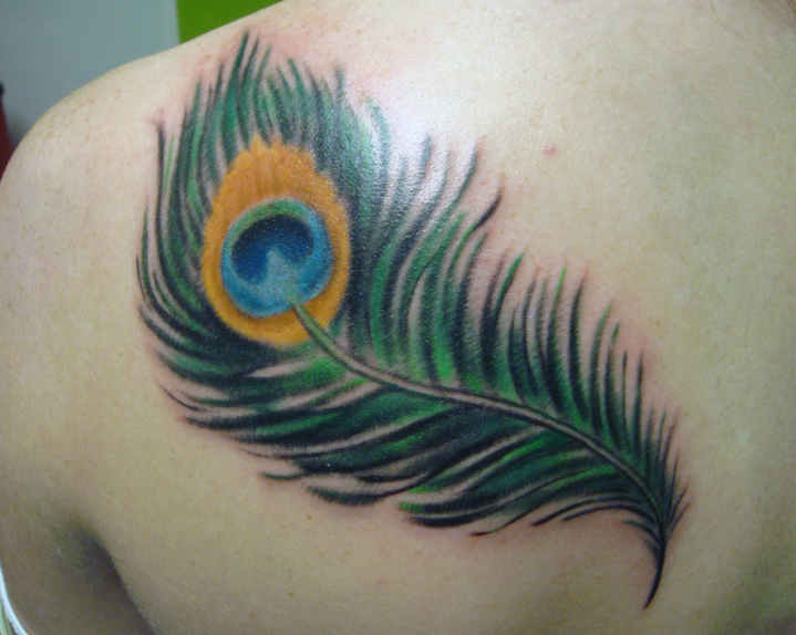 10.22.2010 peacock feather - shoulder tattoo