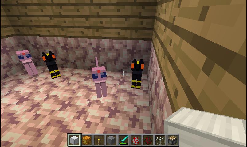 Espeon and Umbreon in Minecraft by KestrelStarYT