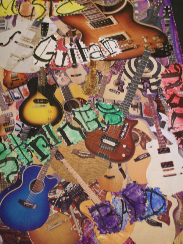Guitar Collage with Caligraphy by xRainChanx on deviantART