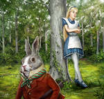 Alice stares at the rabbit