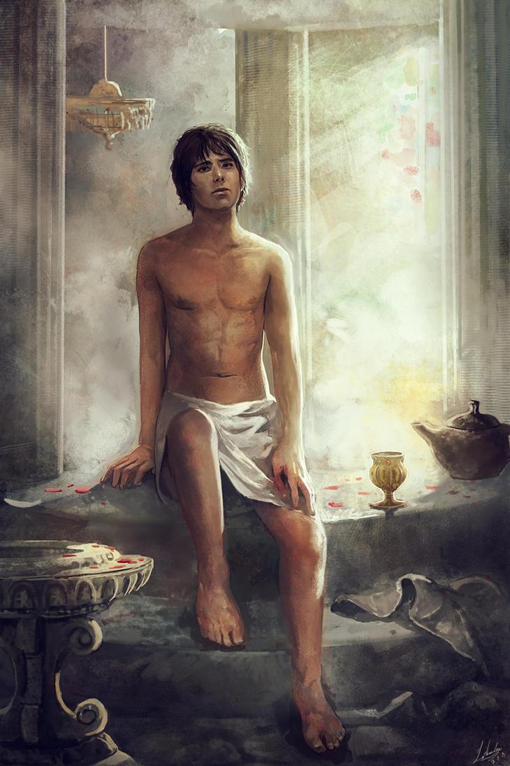 The man sits on a bathtub by lathander1987